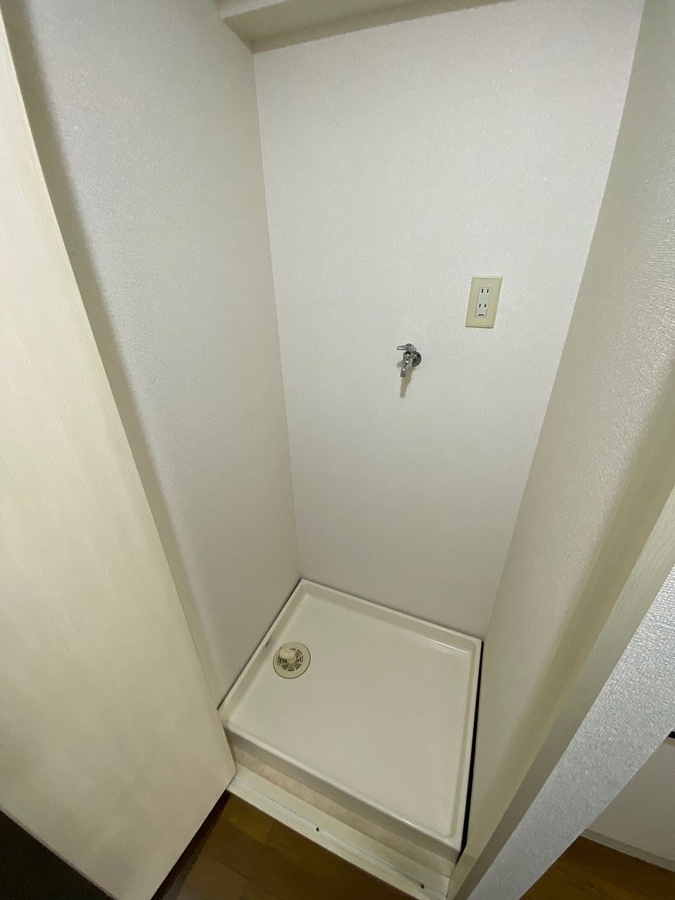 扉付です 玄関横にある収納のようで洗濯機置場にはみえません