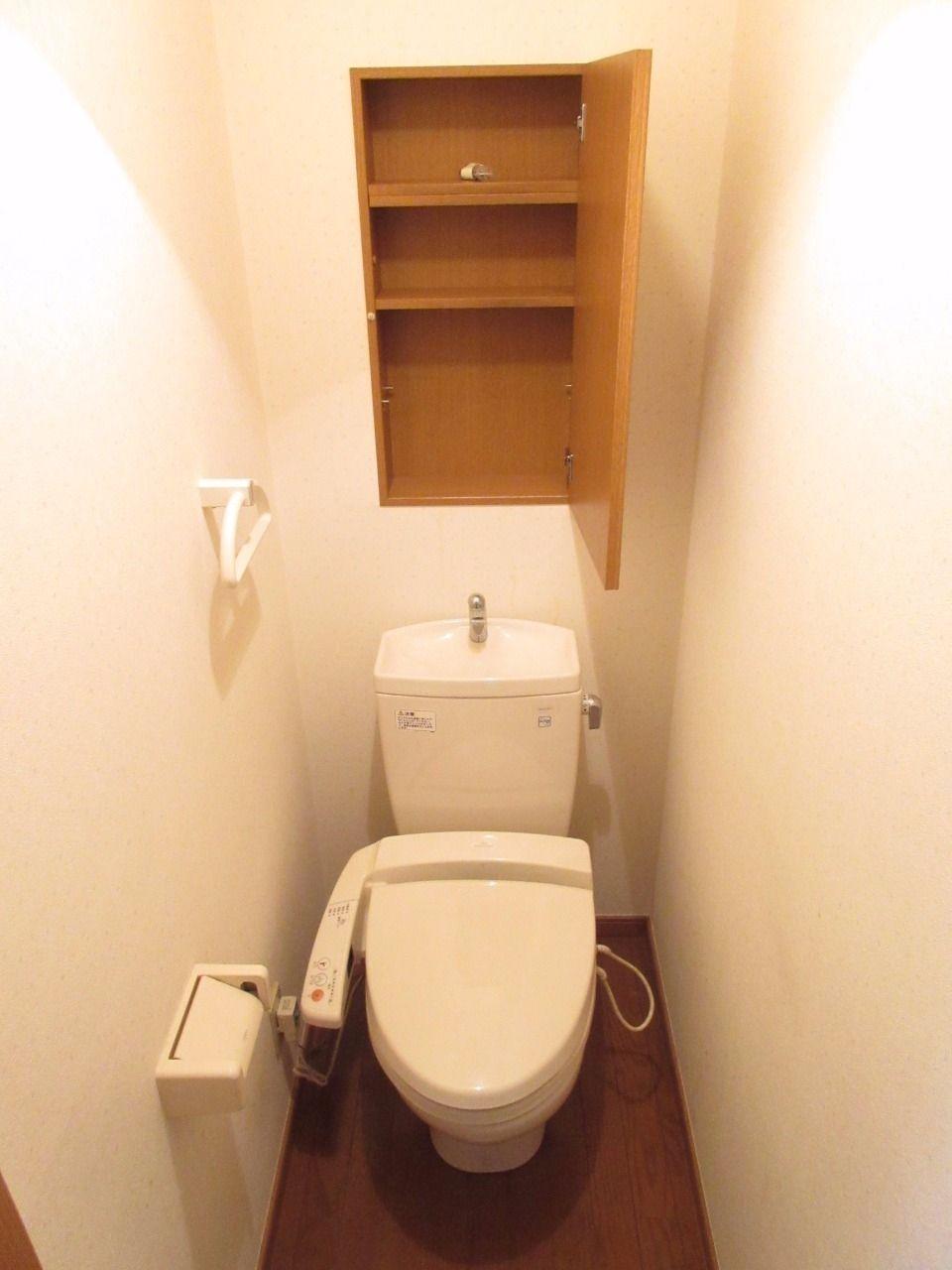 清潔な洗浄機能付温水シャワートイレ、壁には収納棚もあります