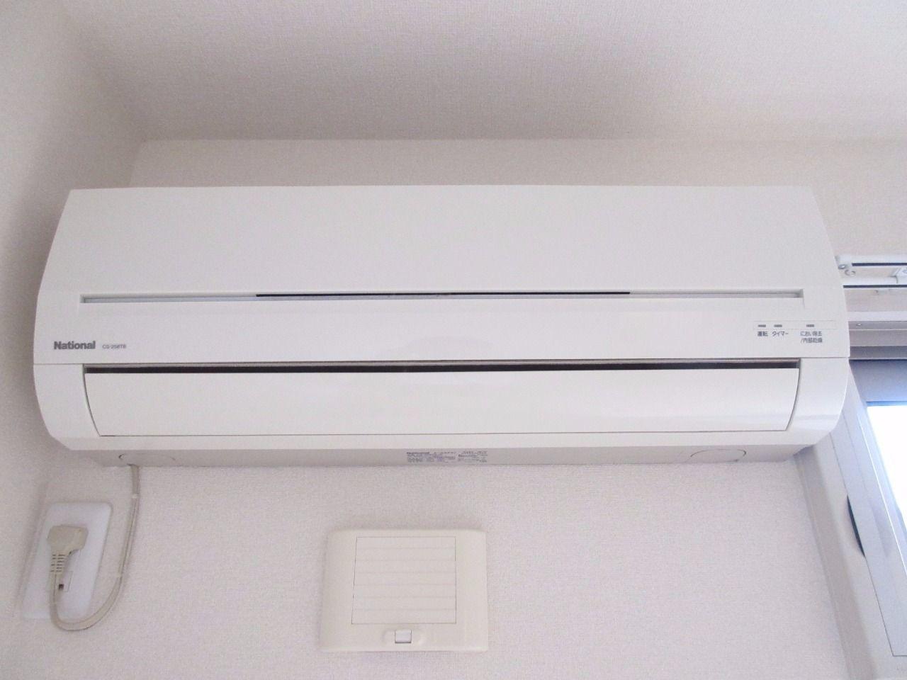 快適な空間を創るエアコンを標準装備'(パナソニック製)