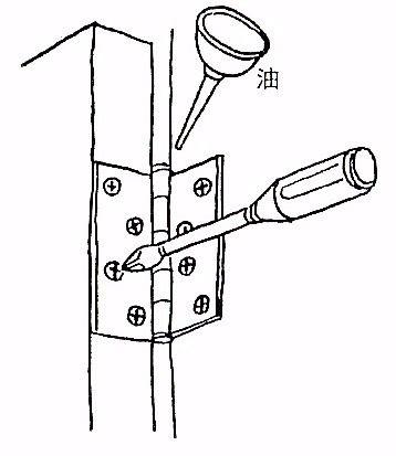 玄関ドアのガタつきは蝶番がゆるんでいる可能性があります。蝶番がゆるんでいるときは止めネジをしっかりと締めなおしてください。 玄関ドアがきしんだりするときは、ミシン油を少しさすと軽くなります。