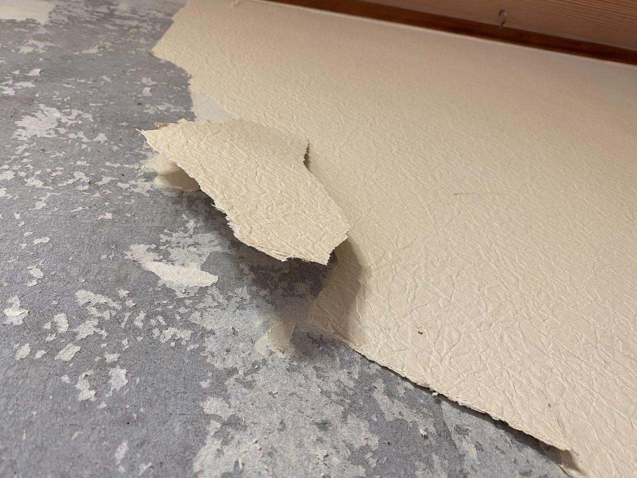 みなさまこんにちは。『第二藤マンションのリノベーション~その8~』の続きです。大工さんの床はり&補修作業が終わり、次はクロス屋さんが壁紙をはがしてくれています。