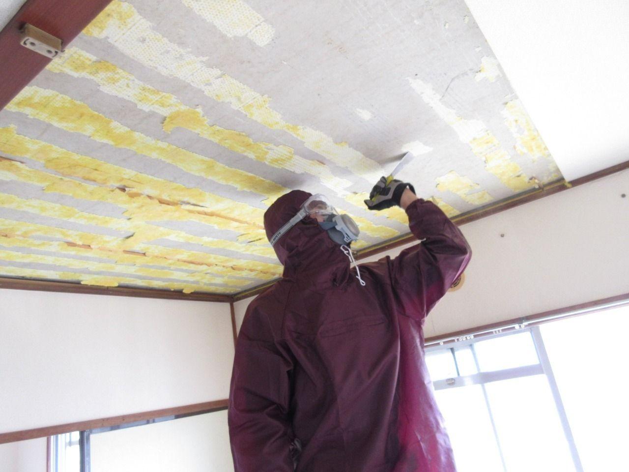 天井材を剥がすのに苦戦してます