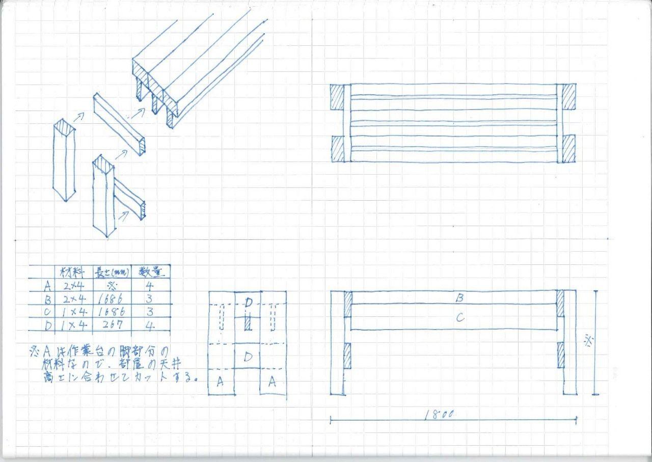 手描きで分かりづらい部分もあると思いますが、ご了承ください。 この作業台は、1×4(ワンバイフォー)材と2×4材(ツーバイフォー)材だけで作れます。
