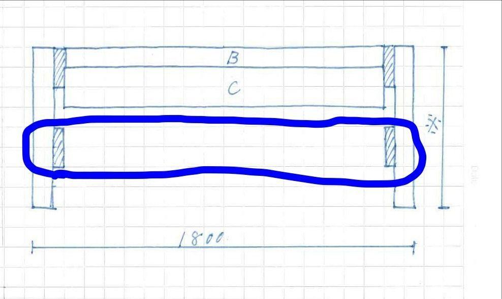 もし、部材A(脚部分)の長さが長すぎて、作業台が不安定になるようであれば1×4材を長さ1,800mmにカットして2本ご用意ください。 そして、上の写真の青く線で囲った部分に、この部材を左右対称に取り付ければ完成です。