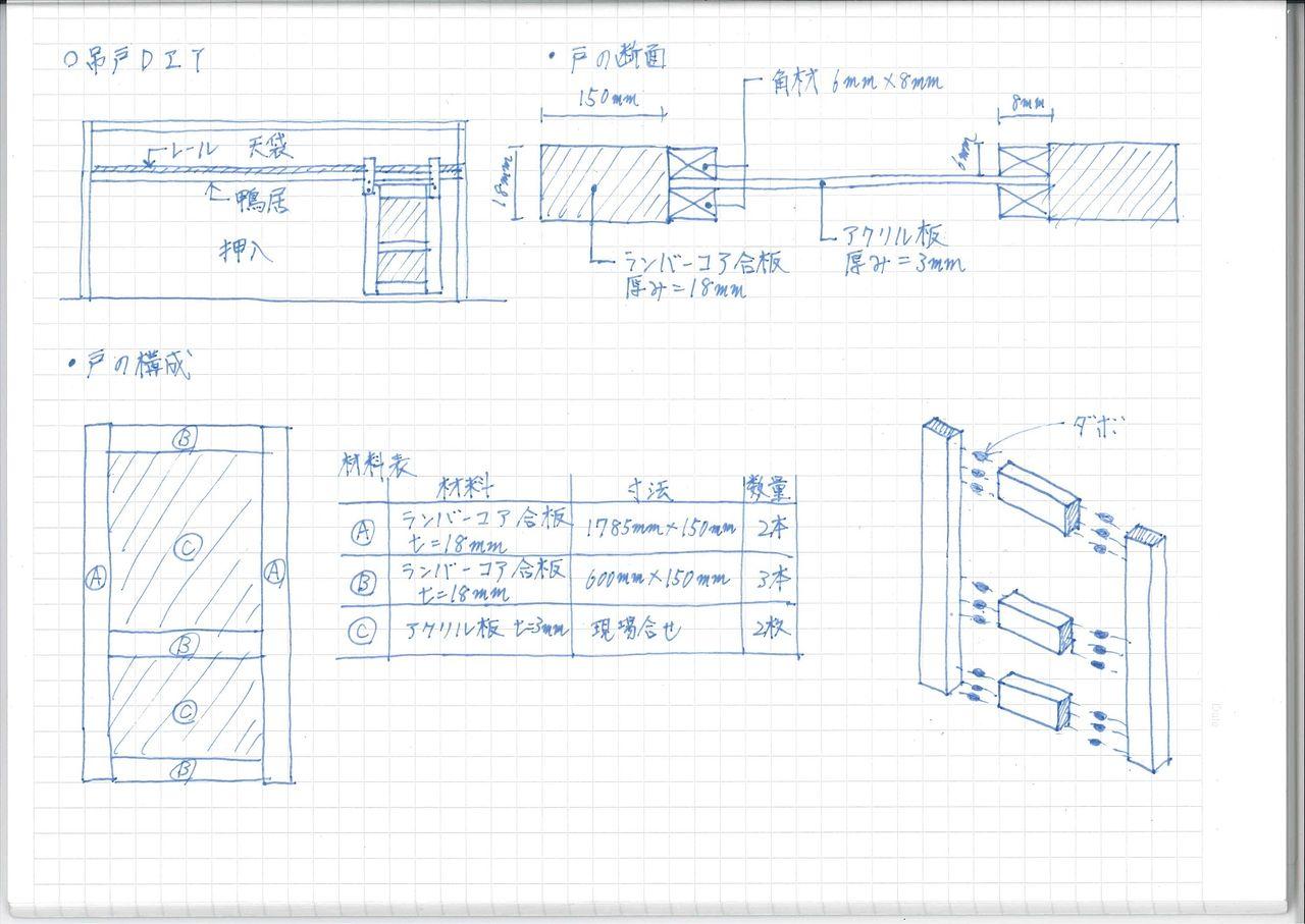 今回の吊戸DIYのイメージは、上の写真の通りです。 押入部分のフスマを外し、鴨居部分にレールを取り付けて、そこに吊戸車を付けた戸を吊り下げれば完成です。